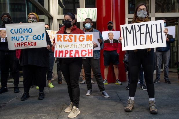 Protesters Rally Outside Gov. Andrew Cuomo's NYC Office To Demand Impeachment
